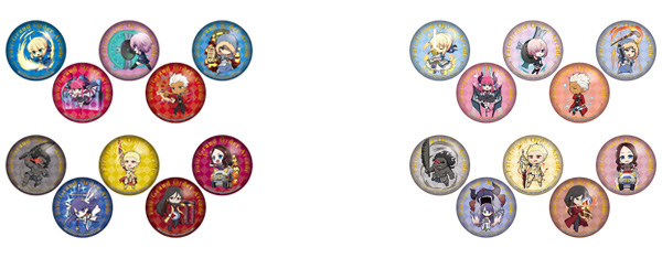 ▲ Sega collaboration cafe Fate / Grand Order Arcade deformed can badge A (all 10 types) (left) / Sega collaboration cafe Fate / Grand Order Arcade deformed can badge B (all 10 types) (right)
