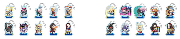 ▲ Sega collaboration cafe Fate / Grand Order Arcade deformed acrylic key holder A with all stands (all 10 types) (left) / Sega collaboration cafe Fate / Grand Order Arcade deformed acrylic key holder B with stand (all 10 types)